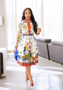 new Early women's 20 spring clothing European temperament fashion digital printing Lapel Long Sleeve Dress