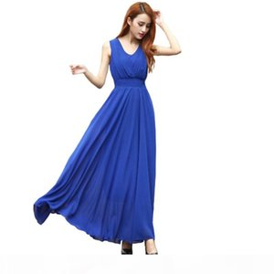 Summer 2020 Bohemian Womens Dress Long Solid Dress Slim Sleeveless Beach Dress For Female V-Neck 6 Color Cute Style