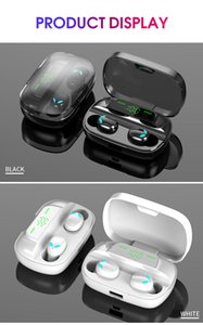 V5.0 S11 TWS 9D surround sound effect bluetooth earphone LED power display Fingerprint touch Headset wireless charging 2 colors
