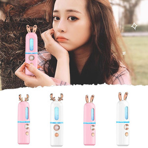 Nano Hydrating Facial Steamer Spraying Machine Negative Ion Nano Steaming Face Moisturizing Cute Fawn Bunny USB Rechargeable