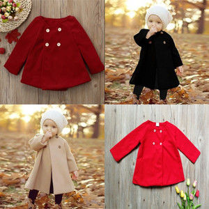 Children Long Sleeves Outwear Pure Color Girl Coat Keep Warm Baby Clothing Autumn And Winter New Style 24 9sh J2
