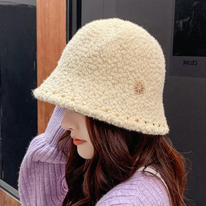 2020Winter women's hat thickened top Japanese fisherman hat flat cap basin solid color warm thickened straw