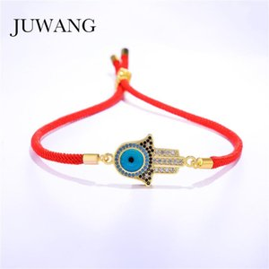 JUWANG Fashion Evil Eye & Hand Bracelets for Men Women Colorful CZ Zircon Stones Adjustbale Lucky Red Rope Bracelet Jewelry