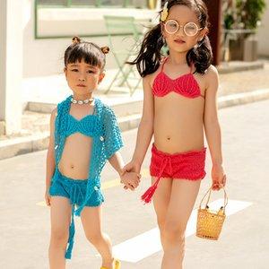 Häkeln Mädchen Badeanzug Tankini Zwei-Stücke Anzug Halter-Bikini-2021 Kind-Sommer-Strand-Abnutzung Kinder Zu Bikini