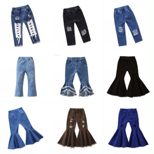 Spring Flare Kid Pants 2020 Baby Girl Jeans Tassels Leopard Layered Hole Child Denim Trousers Elastic Waist Multi Color 30ym G2