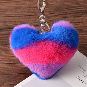 Heart Shaped Plush Keychain 8CM Women Backpack Pendant Decoration Love Car Key Chain Ring Pendant Valentine Day Girl Gift KKA2581