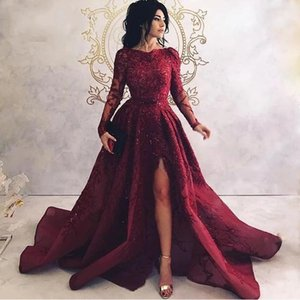 Turkish Saudi Arabic Evening Dress With Long Sleeves Custom Applique High Split Side Long Prom Dresses 2020 Abendkleider Party