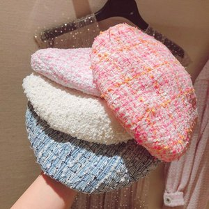 5 Color Hot Sale 2020 Fashion New Women's Elegant Plaid Tweed Beret Female Hat Spring Autumn All Match Hats Pink Blue White Y276