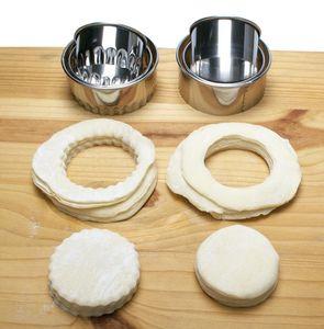 Cookie Pastery Wrapper Herramienta de corte de masa 3 unids / set Cutter Maker Herramienta de acero inoxidable Tarañas redondas envueltas Moldes Conjunto DHF3325