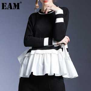 [EAM] Ruffles Kontrast Renk Örme Kazak Gevşek O-Boyun Uzun Kollu Kadın Kazaklar Yeni Moda Sonbahar Kış 2021 1DD3335