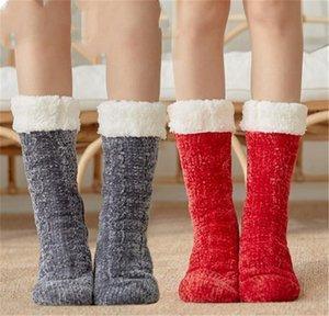 Damen Plüsch Kabel Strick Slipper Socken Winter Chenille Fleece Strümpfe Kieselgelschoden Socken Lange Kaschmir Regen Schneeschuhe Socken LY121601