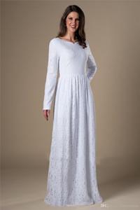 Простые винтажные кружева с длинными рукавами скромные свадебные платья с рукавами Неофициальные Женщины Приемные платья Репетиция Ужин Платья длинные