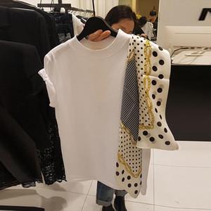 2020 Summer Polka Dot Scarf Patchwork Women Top New Fashion O Neck Short Sleeve Tees Korean Chic Loose T Shirts