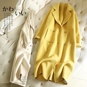 Winter new double-sided cashmere coat whom long al barca Hepburn wind over-the-knee cloth coat LJ200928