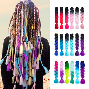 Африканский косилка для плетеных волос Jumbo Синтетические оплетка Волосы вязание крючком оплетки Твист круглосуточный двух тональных волос наращивания волос Косплей парики 60 цветов