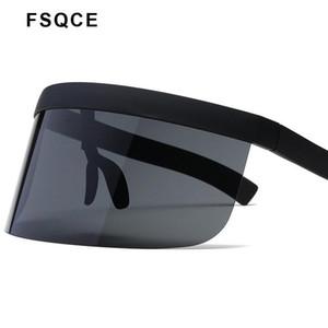 FSQCE Moda Gafas de sol Mujeres Diseño de marca Gafas Gafas Sun Gafas Big Frame Shield Visor Hombres A prueba de viento Sunglass UV400