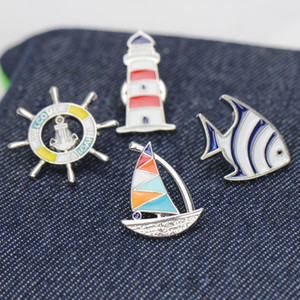 Cute Cartoon Sailboat Rudder Tropical Fish Brooch Pins Funny Zinc Alloy Lighthouse Brooches for Girls Xmas Gift Silver Badges Bag Pin 2020