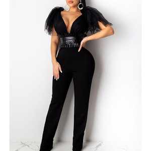 Tied Bow Shoulder Mesh Pu Leather Patchwork Jumpsuit Women Black White Long Wide Pants Jumpsuit Womens Rompers Sexy Club Overall