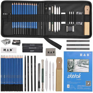 35PCS Drawing Pencils Artists Sketching Pencils Art set with Sketch Paper Zipper Case includes Graphite Pastel Charcoal Pencils 201202