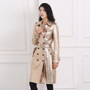 Chic Women winter Genuine Leather Doubl-breasted Trench coat High quality Sheepskin leather overcoat C400