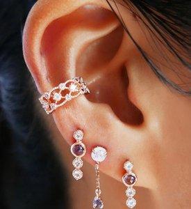 High Sense Gold Plated Ear Cuff Fashion INS Zircon C Shape Ear Clip Earrings Women Jewelry