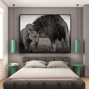 Lions Head to Head Black and White Canvas Art Painting Posters and Prints Scandinavian Cuadros Wall Art Picture for Living Room Z1202