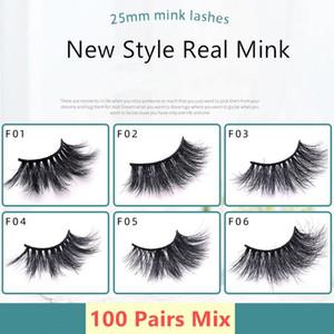 No Box 20 50 100 Pairs 3D Mink Lashes With Tray Handmade Full Strip Lashes Mink False Eyelashes Makeup eyelashes Wholesale
