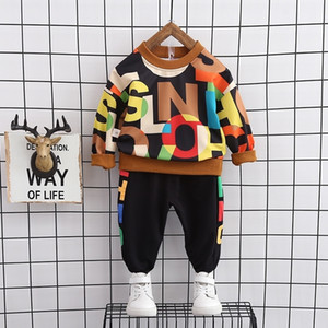 Children Autumn Suit Long Sleeved Fashion Clothes 1-4 Years Old Baby Boys Western Style Sweatershirt + Trousers Set Kids Outfits LJ201203