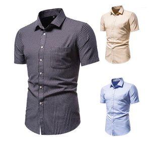 SZMXSS Plaid Camicie per uomo Casual Slim Fit Social Manica Corta Abbigliamento Abbigliamento Business Camicie maschili Regolari-Fit Classic Tops1