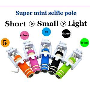 Super Mini Foldable Wired Light Foam Selfie Stick Handheld Extendable Groove Monopod Built-in shutter selfie pole For iPhone Samsung