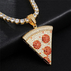 Iced Out Pizza Pendant & Necklace New Arrival Micro Paved Cubic Zircon Men's Hip Hop Jewelry For Gift