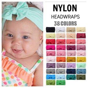 Bebek Çocuk Türban Kafa Naylon Saç Sarar Yay Boş Renk Kafa Bantları Sıkı Hairbands Bebekler Kızlar Moda Saç Aksesuarları E121708