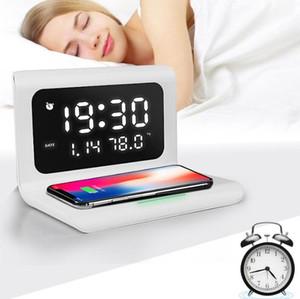 Tapis de chargeur sans fil avec horloge de miroir d'alarme numérique 12 / 24h Température 10W Chargement rapide pour iPhone 11 12 Samsung S10 Note 10