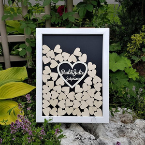 personalize engraved names date hearts wooden Wedding Guest Book Alternative Guest Book Drop Top Box Hesignature books
