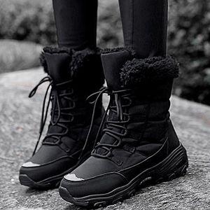 Зимняя мода женские короткими ботинками, плюс бархат теплый, нескользкой платформы снежные ботинки, сплошные цвета вскользь женские ботинки #