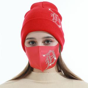 Bonnets d'hiver Casquettes avec masque de visage Sport Cristal Cristal Party Chapeaux Épaissir Casual Casual Papillon Imprimer Casquettes de crâne Masques EEB4258