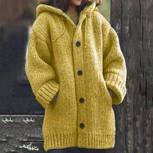 Erkek hırka kazak ceket Sıcak Triko Coats Gevşek Yün Örgü Coat Sonbahar Kış Kadın Uzun Hırka Büyük Boy Kapşonlu