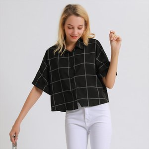 Crop Top Women Loose Button Down Checked Shirt Summer Blouse Cardigan White Blouse Striped Shirt Summer Cardigan Women Tops 2019