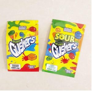 Mondes snack fruits médicamenteux snack 500 mg Sacs de souffleurs tropicaux et acides Saveurs tropicaux Sourtes Gummies Emballements Sacs MyLar 2021