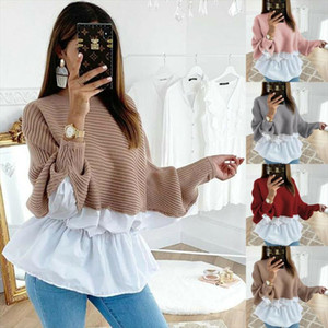 2019 Autumn Winter Women Blouse Tops Pink Red Patchwork O Neck Long Sleeved Knitted Sweater For Women Soft Pullovers Shirt Tops