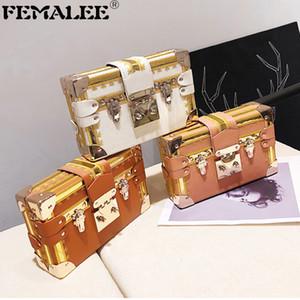 Retro Designer Ins Hot Box Bag Luxus Stickerei Kontrastfarbe Kupplung Handtasche Frauen Metallische Schnalle Schloss Umhängetaschen Bolsa Q1207