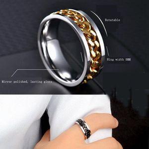 Band, Mens Spinner Rings, Fidget Ring, Stainless Steel Black, Silver, Blue ,Gold, Size 6-13