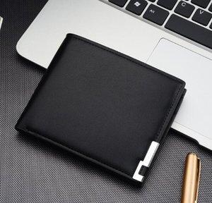 3pcs Wallet Men PU Plain Multifunctional Foldable open square short card holder mix color