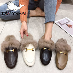 LazySeal Winter New Real Fur Metal Buckle Mules Women Shoes Loafers Pregnant Shoes Women Furry Slides Fluffy Hairy Flip Flops