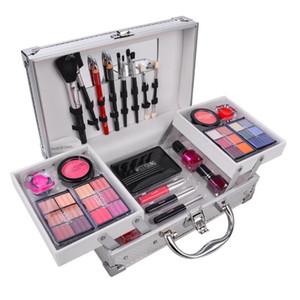 Профессиональный макияж набор 3 лиров чемодан макияж комплект блеск помада кисти для ногтей косметика для теней для теней
