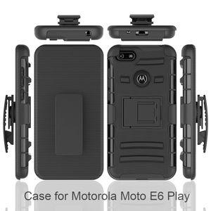 Ağır sağlam zırh savunucusu kemer klip kılıf Motorola Moto E6 için G8 oyna G8 P40 Not G7 Darbeye Kapak Kickstand