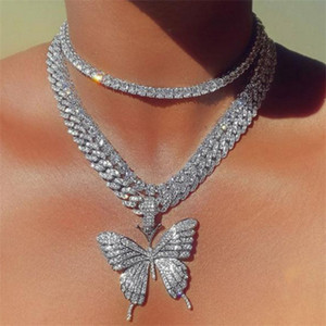Stonefans Luxury Cuban Link Chain Choker Necklace Butterfly Pendant for Women Hip Hop Iced Out Rhinestone Necklace Jewelry . y625