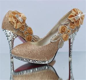 Блестящие алмазные высокие каблуки женские туфли круглый носок свадьба вечерние вечеринки платья для вечеринки обуви женщин сексуальные дамы черные насосы свадебные туфли