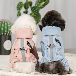 Reflective Raincoat Night Walk Rain Coat For Small Dogs Waterproof Dog Clothes Chihuahua Labrador Jumpsuit Hooded Jacket