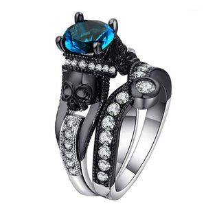Hainon Black Skull Ring Set Silver Color Fashion Wedding & Engagement CZ Crystal Ring Set Jewelry For Women1